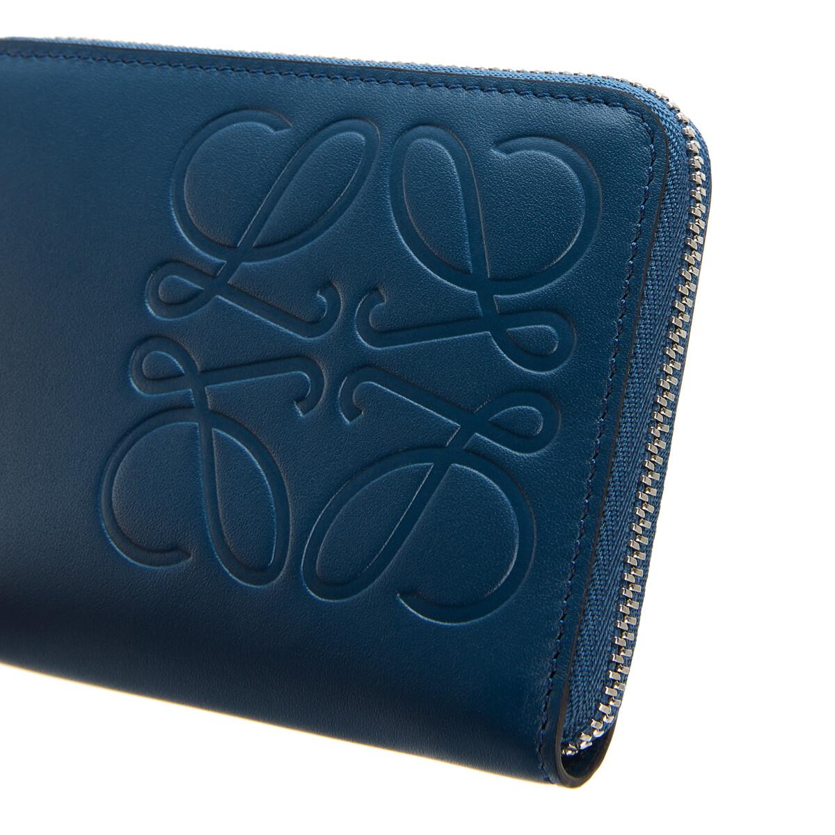 LOEWE Brand 6 Card Zip Wallet Indigo front