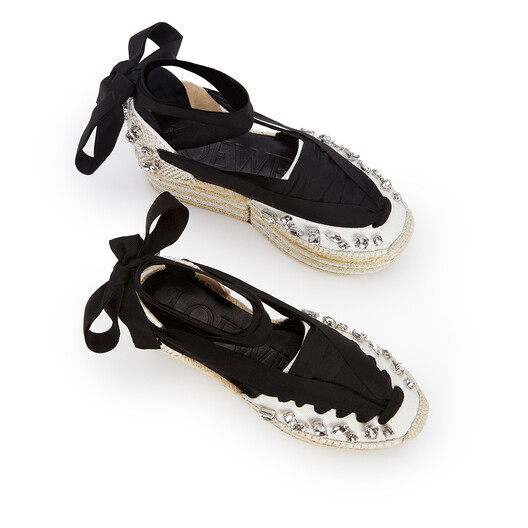 LOEWE Wedge Espadrille In Cotton Black/White front