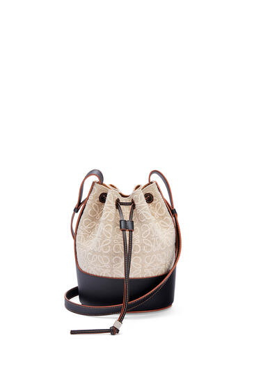 LOEWE Small Balloon bag in anagram linen and calfskin Natural/Black pdp_rd