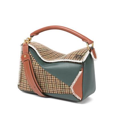 LOEWE Puzzle Tweed  Bag Cypress/Tan front