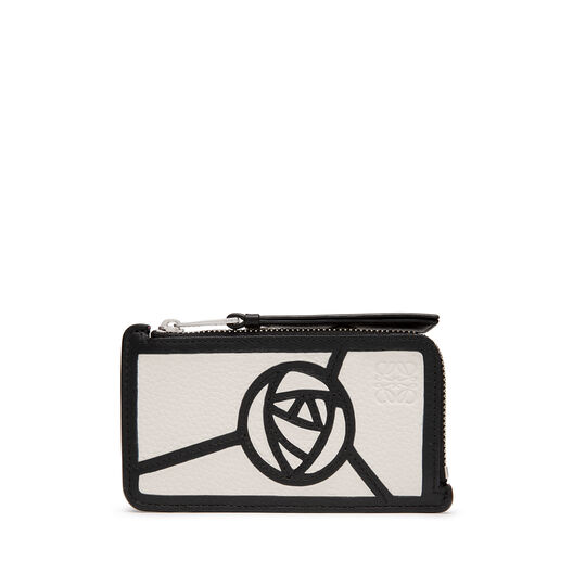 LOEWE Puzzle Coin/Card Holder Roses 白色/黑色 front