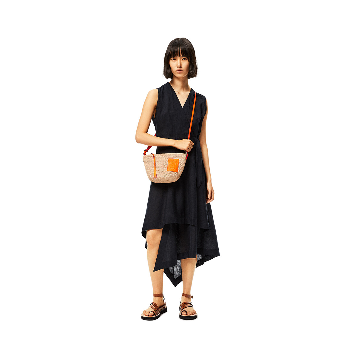 LOEWE Pochette Bag In Raffia And Calfskin Natural/Neon Orange front