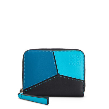 LOEWE Puzzle 6 Card Zip Wallet Dark Lagoon/Black front