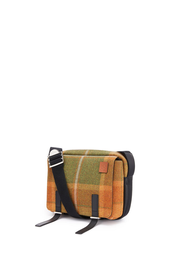LOEWE XS Military Messenger bag in textile and calfskin Tan/Black pdp_rd