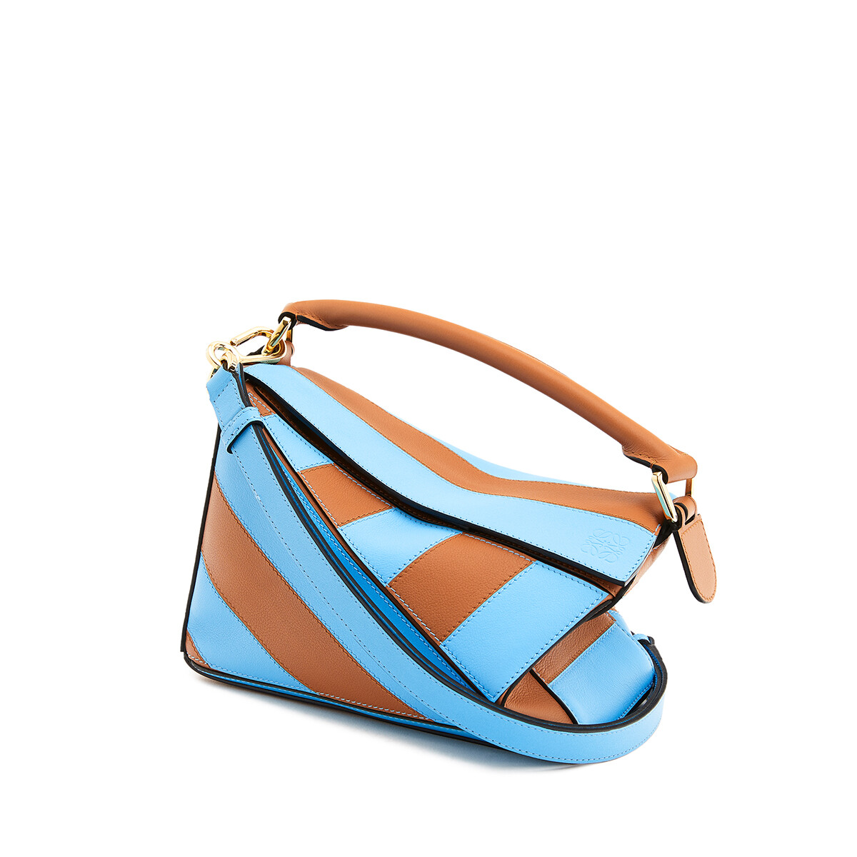 LOEWE Puzzle Rugby Small Bag Tan/Sky Blue front
