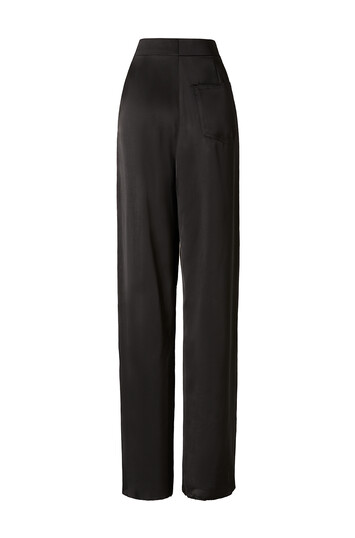 LOEWE Satin Trousers Leather Panel Black front