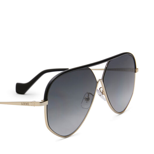 LOEWE Pilot Leather Sunglasses Black/Gold/Grey front