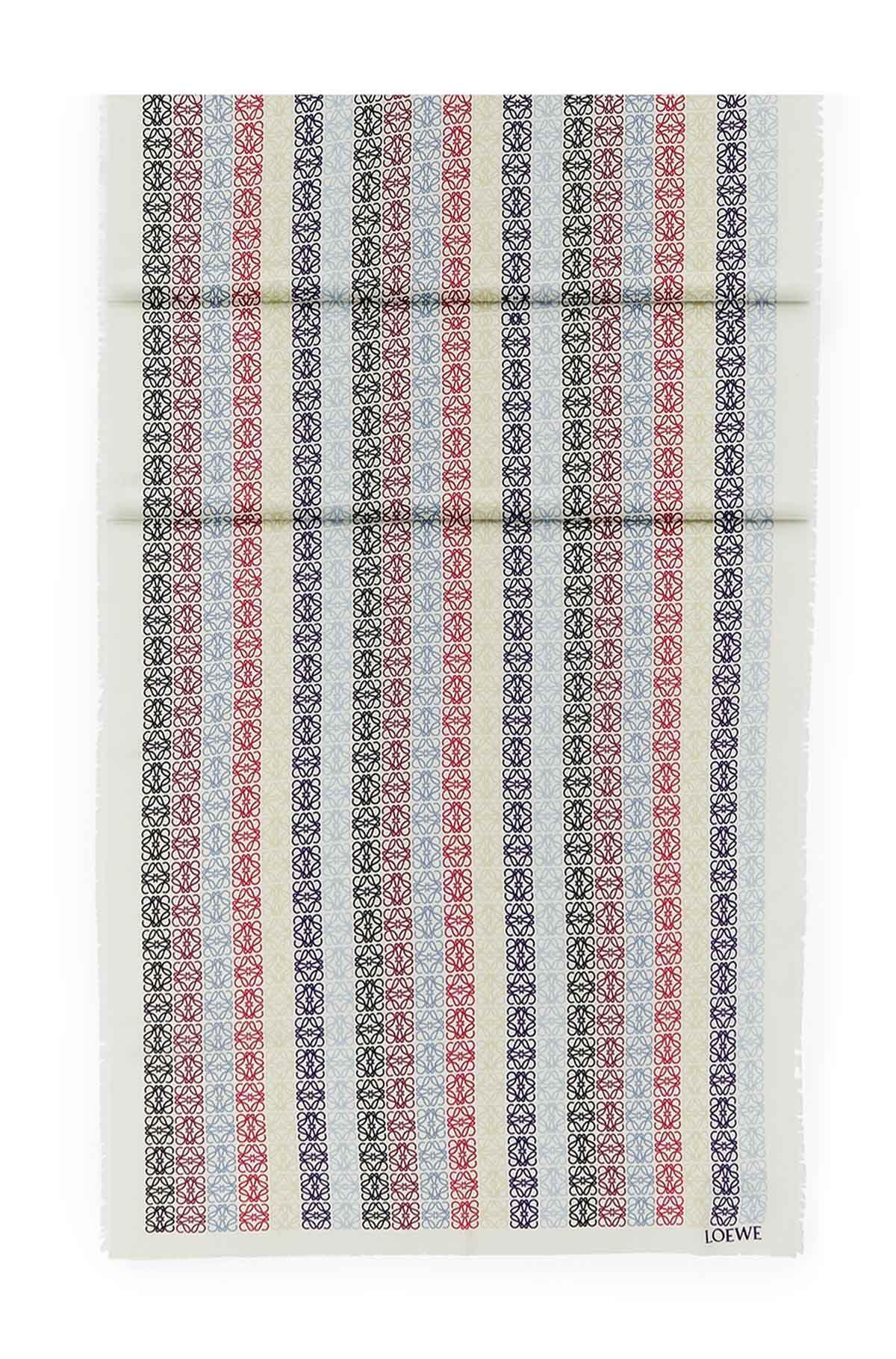 LOEWE 70X200 スカーフアナグラムINライン ブルー/レッド all