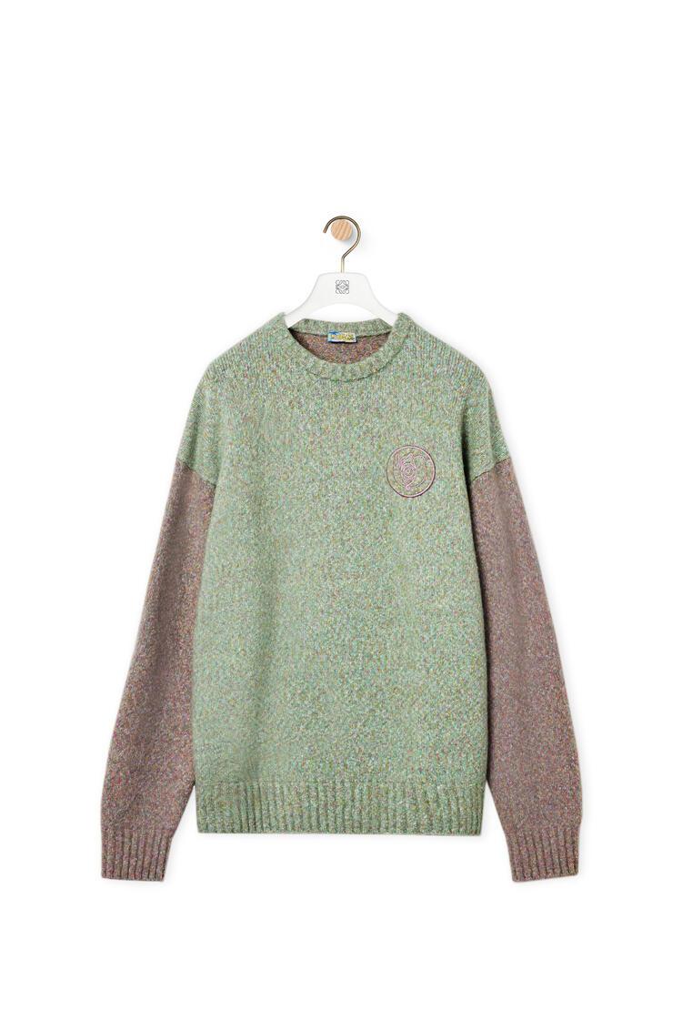 LOEWE Jersey de cuello redondo en algodón y lana Verde/Rosa pdp_rd