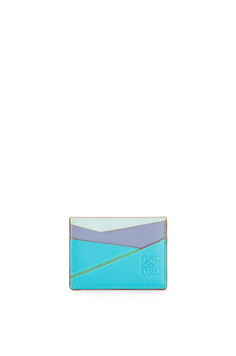 LOEWE Puzzle Plain Cardholder In Classic Calfskin Lagoon Blue/Blueberry pdp_rd