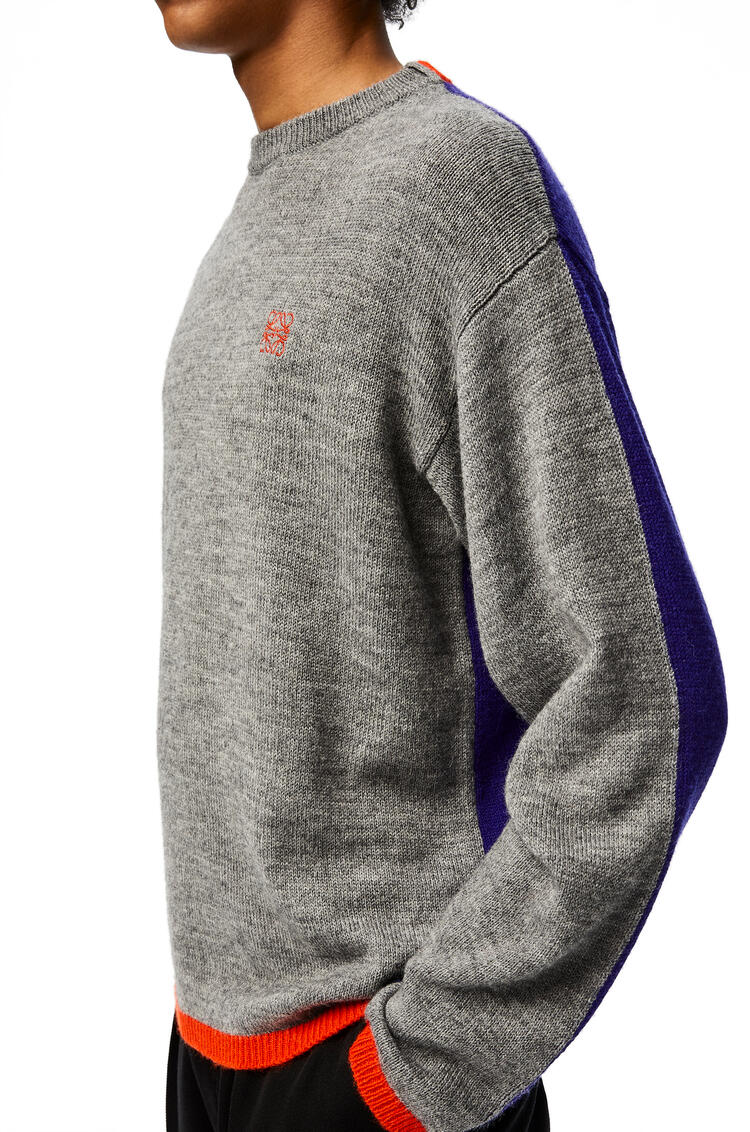 LOEWE Anagram embroidered sweater in acrylic and apalca Grey/Purple pdp_rd