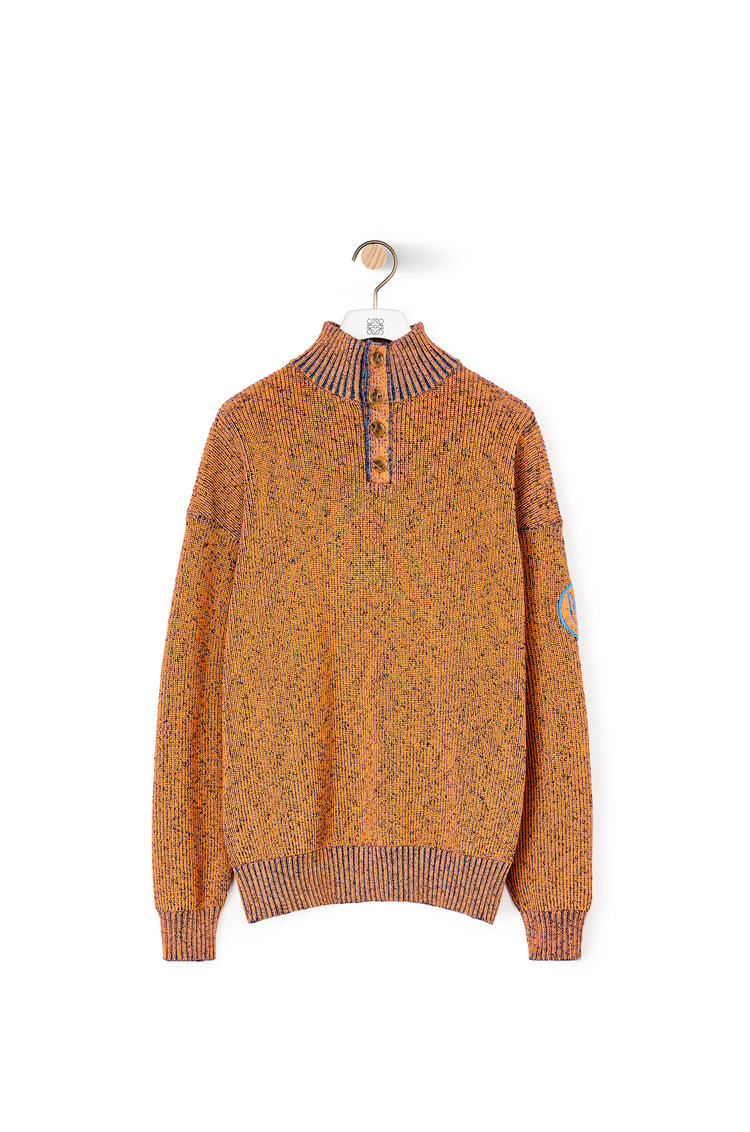 LOEWE Melange High Neck Jumper In Cotton Orange pdp_rd