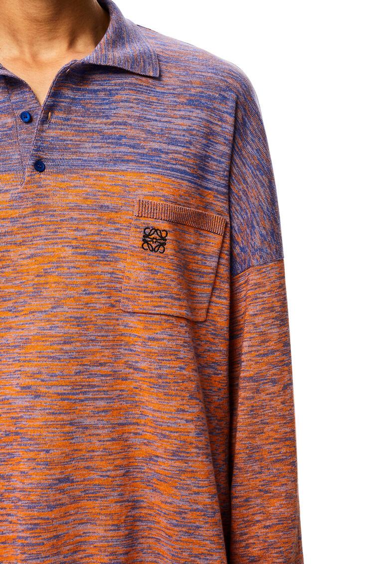 LOEWE Melange oversize polo collar sweater in cotton Purple/Orange pdp_rd