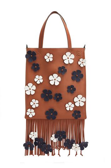 LOEWE Vertical Tote Flowers Tan/Blue front