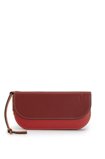 LOEWE Gate Continental Wallet In Smooth Calfskin Garnet/Pomodoro pdp_rd
