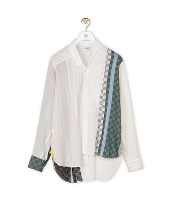 LOEWE Short Asymmetric Shirt Scarfs Beige/Azul/Blanco front