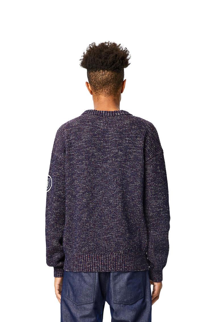 LOEWE Melange crewneck sweater in cotton Navy Blue pdp_rd
