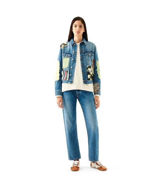 LOEWE Patchwork Denim Jacket Blue/Multicolor front