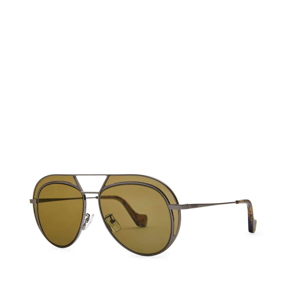 LOEWE Round Metal Sunglasses 黑色/军绿色 front