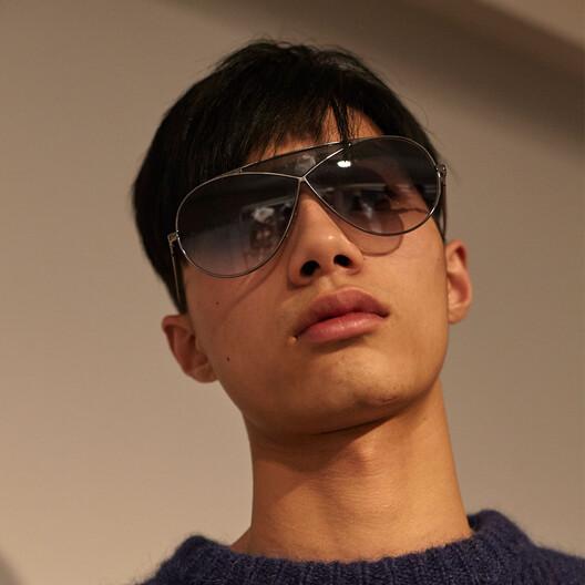 LOEWE Pilot Puzzle Sunglasses Shiny Rhodium/Gradient Smoke front