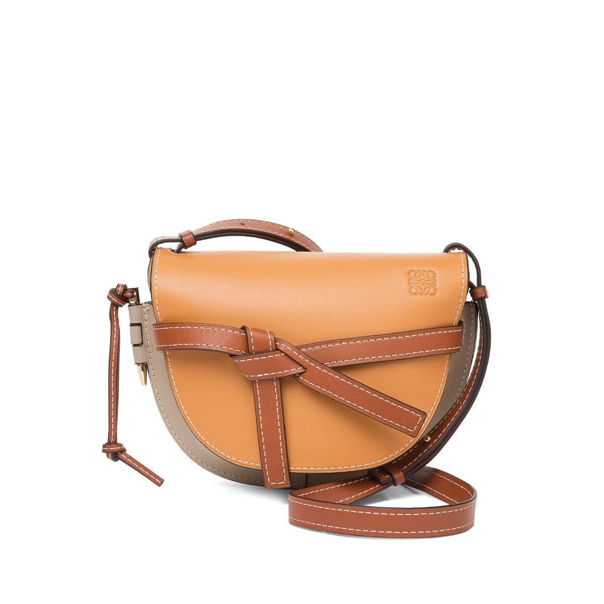 LOEWE Gate Small Bag Amber/Light Grey/Rust Colour all