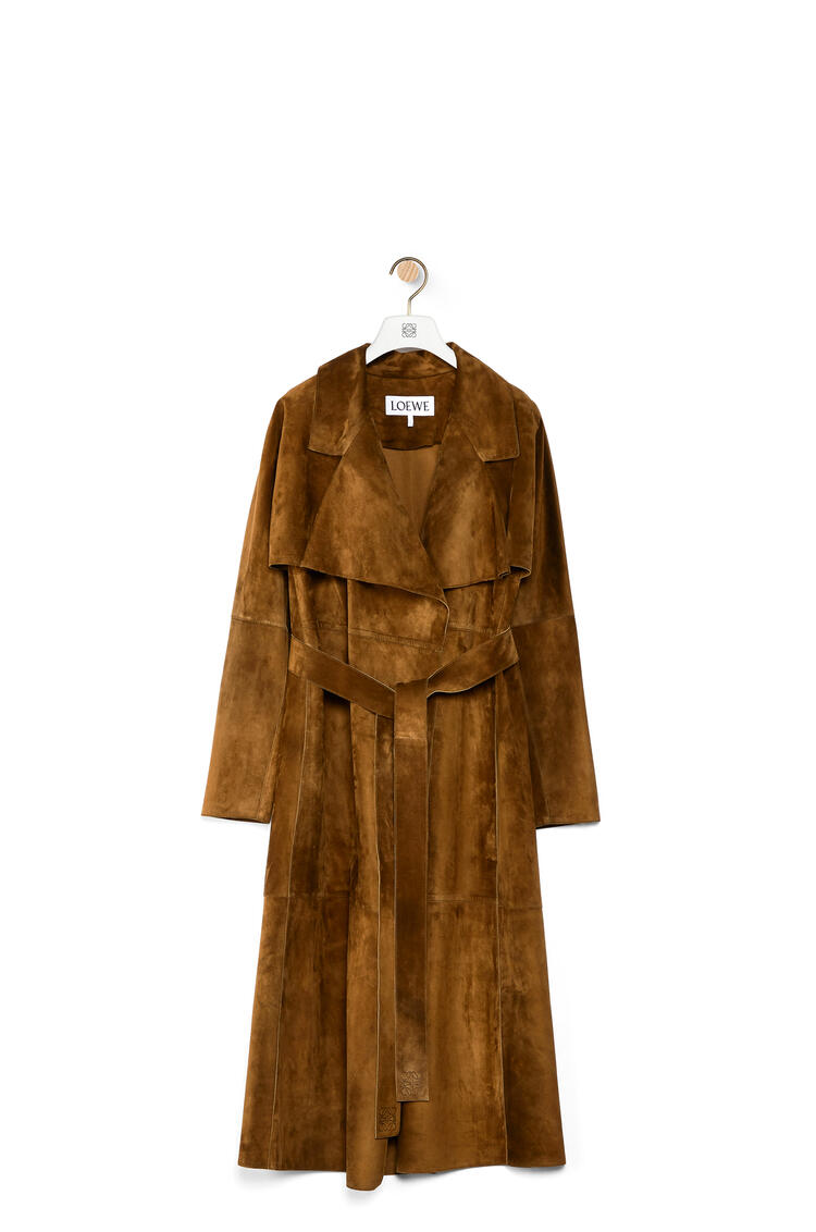 LOEWE Trench coat in suede Khaki Green pdp_rd
