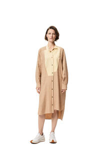LOEWE Anagram jacquard shirt mini dress in silk Beige/Sand pdp_rd