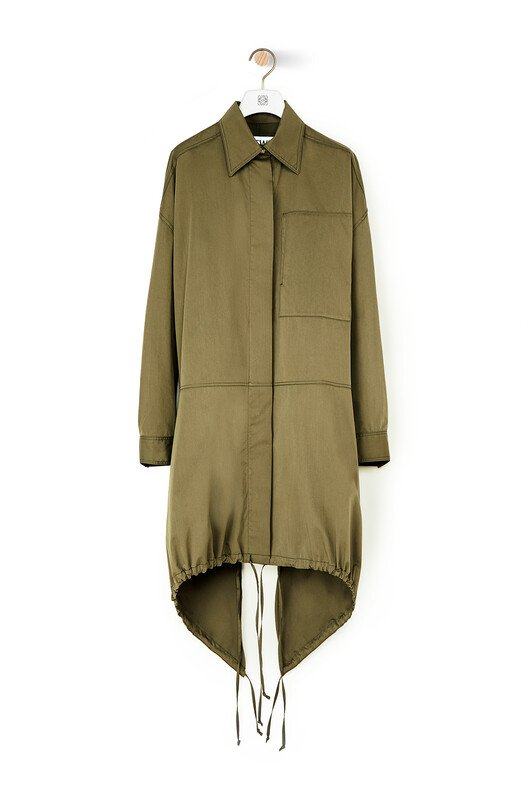 LOEWE Drawstring Shirt Parka military green front