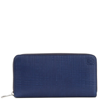 LOEWE Linen Zip Around Wallet Navy Blue front
