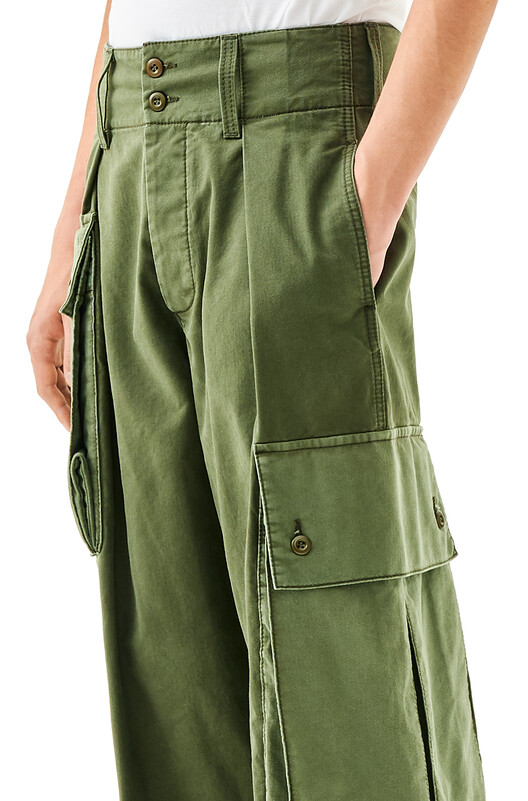 LOEWE Asymmetric Cargo Trousers Dark Khaki G/Light Khaki G front