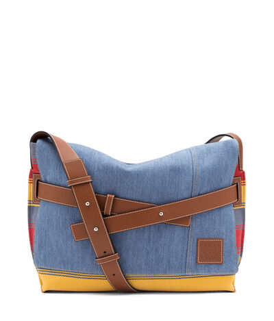 LOEWE Strap Messenger Stripes Bag Multicolor/Bue Denim/Tan front