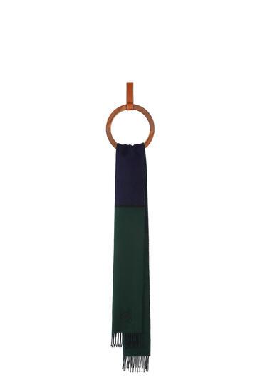 LOEWE Window scarf in wool and cashmere Navy/Dark Green pdp_rd