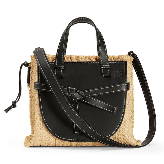 LOEWE Gate Top Handle Small Bag Black/Natural front