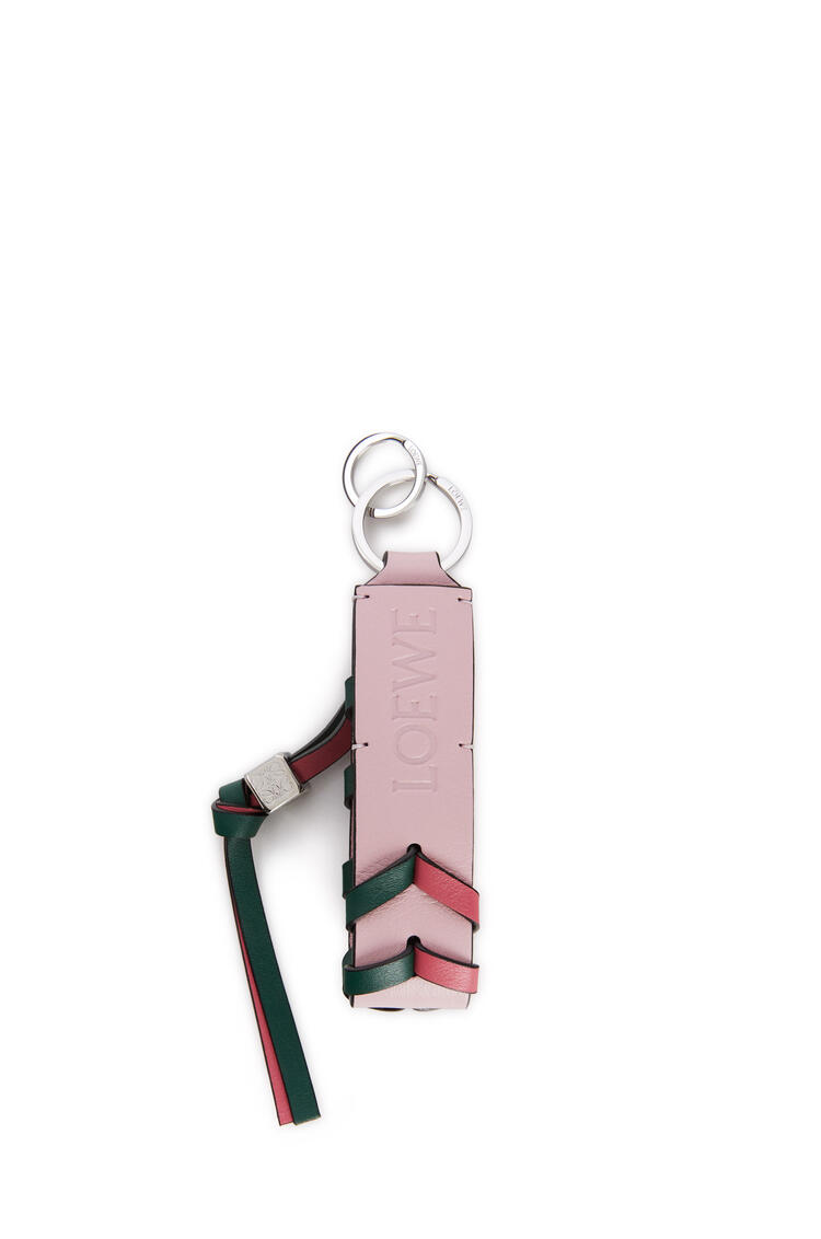 LOEWE Braided strap keyring in calfskin and brass New Candy/Light Pink pdp_rd