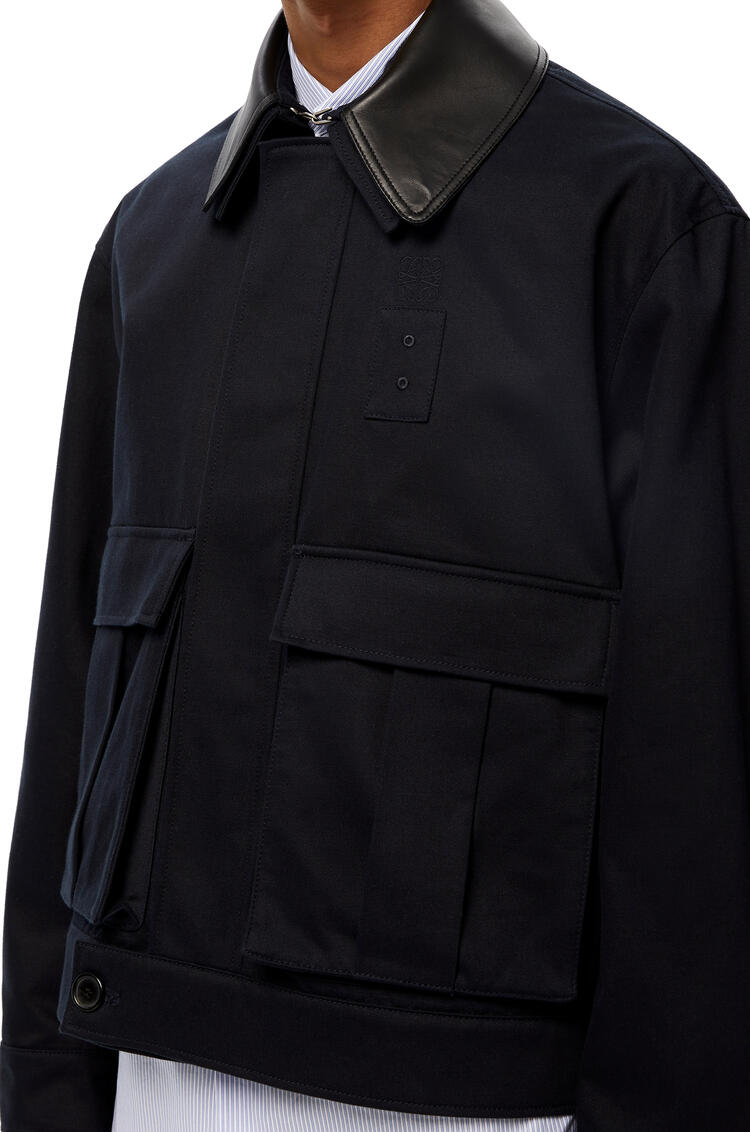 LOEWE Patch pocket jacket in cotton Navy Blue pdp_rd