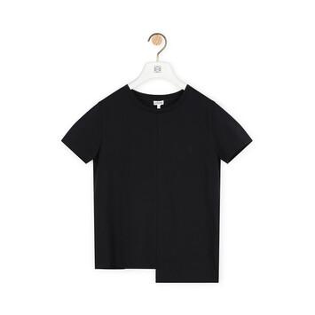 LOEWE アシンメトリック アナグラム Tシャツ ブラック front