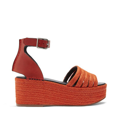 LOEWE Wedge Cord Sandal Red front