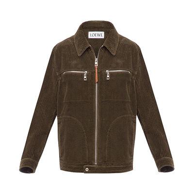 LOEWE Zip Corduroy Jacket Khaki Green front