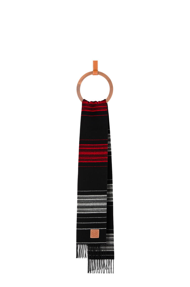 LOEWE Scarf in striped wool and cashmere Dark Blue/White pdp_rd