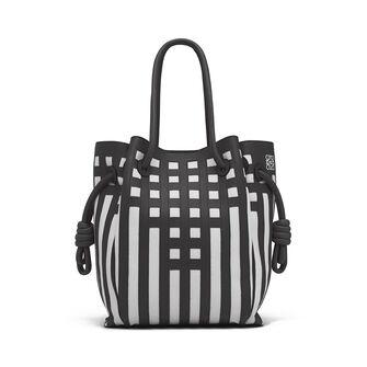 LOEWE Flamenco Knot Tote Grid S Bag Black/White front