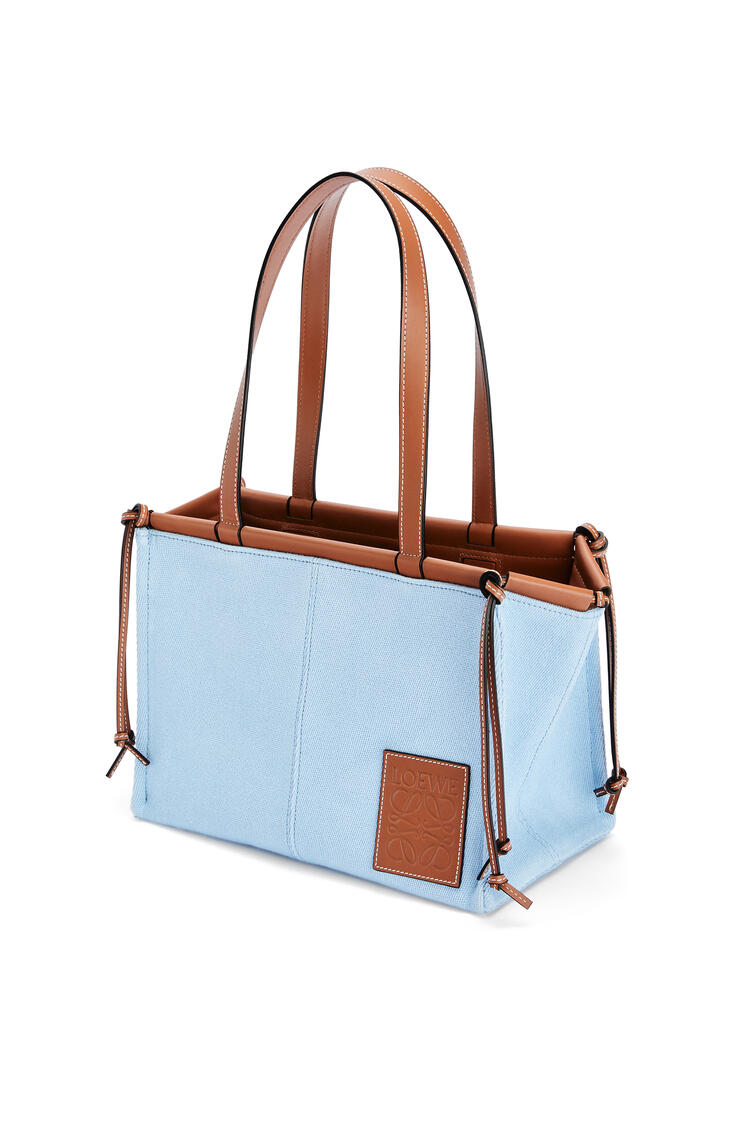 LOEWE Small Cushion Tote bag in canvas and calfskin Light Blue pdp_rd