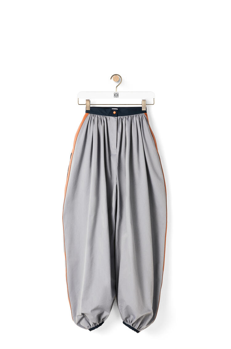 LOEWE Leather trim balloon trousers in cotton Iridescent Silver pdp_rd