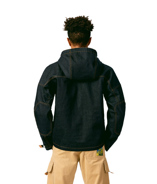 LOEWE Denim Hoodie Front Pocket Blue front