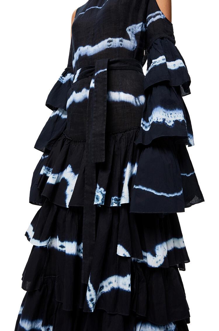 LOEWE ラッフル ドレス (タイダイ コットン&リネン) ブルー/ホワイト pdp_rd