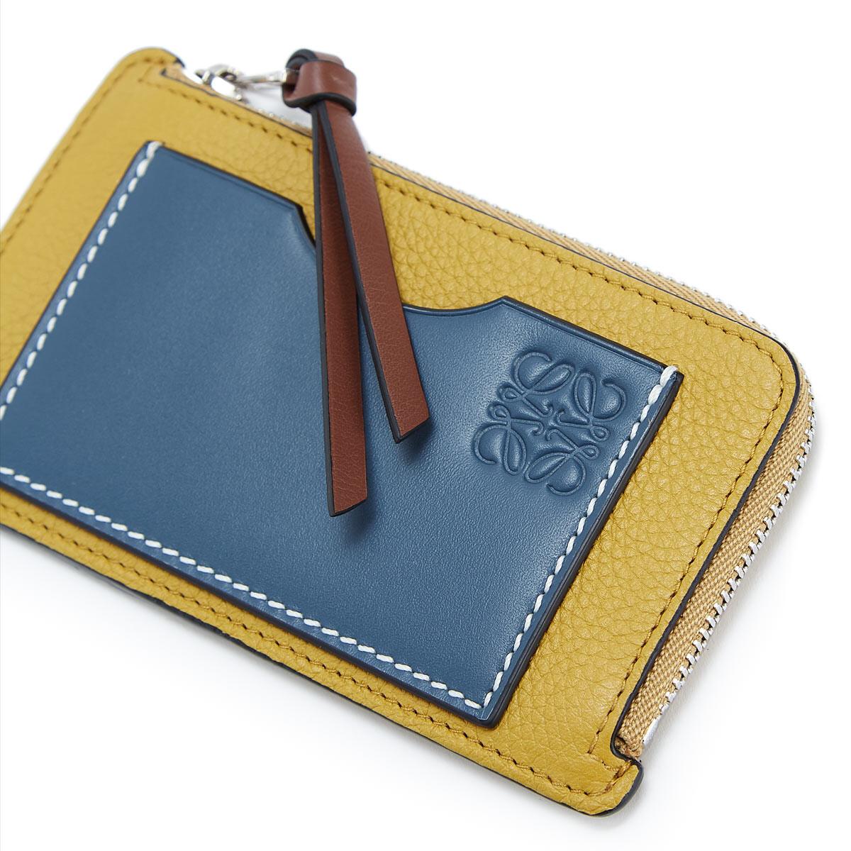 LOEWE コイン/カードホルダーラージ Ochre/Steel Blue  front