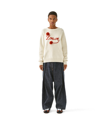 LOEWE Loewe Sweater Pompons white/red front