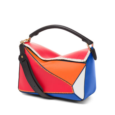 LOEWE Puzzle Patchwork Bag Multicolor front