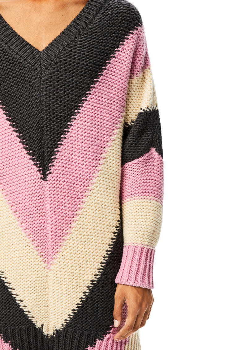 LOEWE Oversize V Neck Sweater In Striped Cashmere Pink/Grey pdp_rd