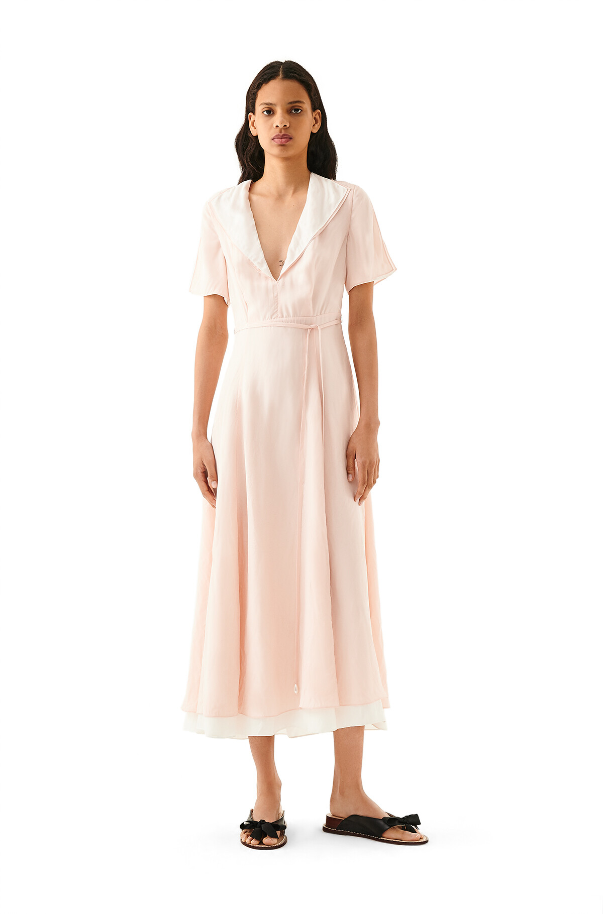 LOEWE Cut Sleeve Dress Pink/White front
