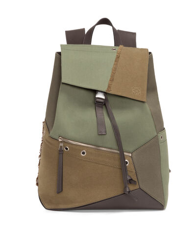 LOEWE Puzzle Backpack Khaki Green Multitone front